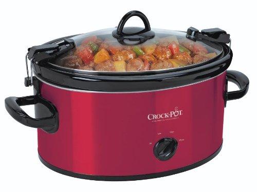 Crock-Pot SCCPVL600R 6-Quart Manual Cook & Carry Oval Portable Slow Cooker, Red