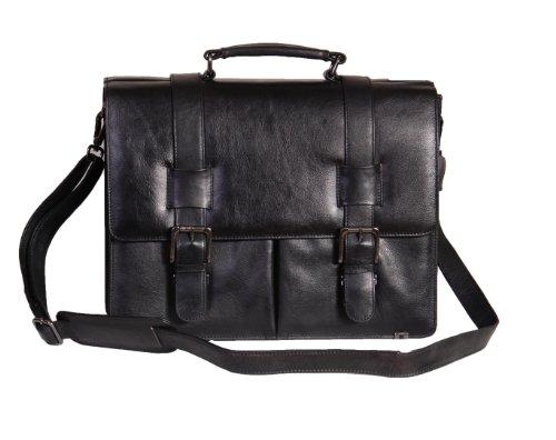 Real Leather Briefcase 882 Black Organiser Business Messenger Shoulder Laptop Bag 40x31x13cm