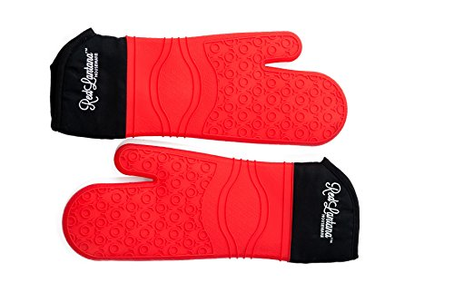 RedLantana Silicone Oven Mitts - Commercial-Grade - Set of 2 (Red, Small/Medium/Youth Size) (Silicone Oven Mitt Small compare prices)