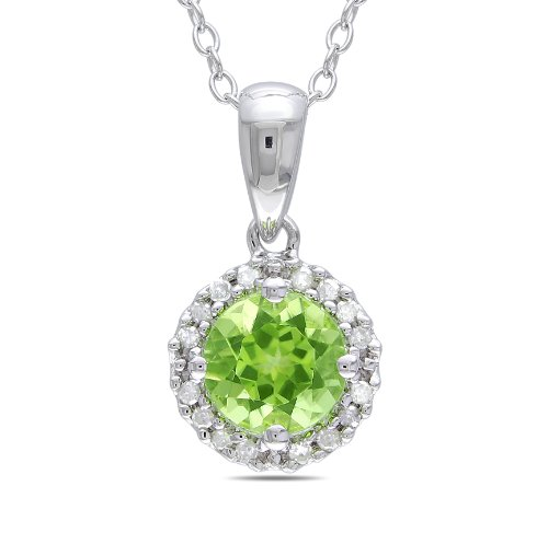 Sterling Silver 7/8 CT TGW Peridot 1/10 CT TDW Diamond Fashion Pendant (G-H, I3)