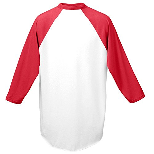 Augusta Drop Ship Baseball Jersey - WHITE/RED - L