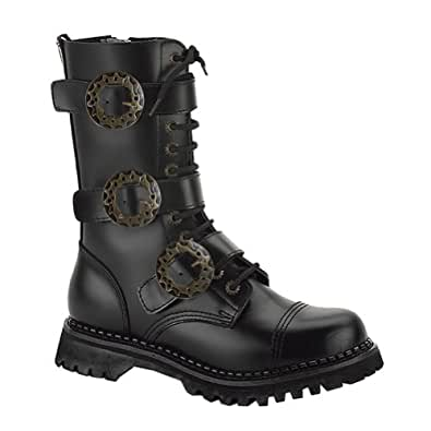 Black Leather MENS SIZING Combat Boots Gothic Steampunk Boots Hardware Size: 7