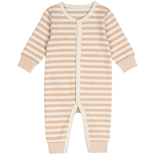 Niteo Baby Organic Cotton Snap Front Coverall, Light Brown Stripes, 9-12M