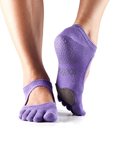 ToeSox Women's Plie Full Toe Grip for Yoga, Pilates, Barre, Dance, Toe Socks With LEATHER PAD (Light Purple) Small