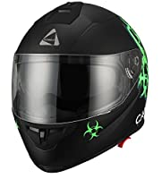 "Triangle ""Caution"" Matte Letter Green Dual Visor Full Face Motorcycle Helmet [DOT] (Medium) by Zhejiang Jixiang Motorcycle Fittings Co., LTD"