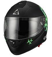 "Triangle ""Caution"" Matte Letter Green Dual Visor Full Face Motorcycle Helmet [DOT] (Medium) by Zhejiang Jixiang Motorcycle Fittings Co., LTD"