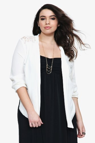 Image of Torrid Plus Size Ivory Lace Inset Jacket