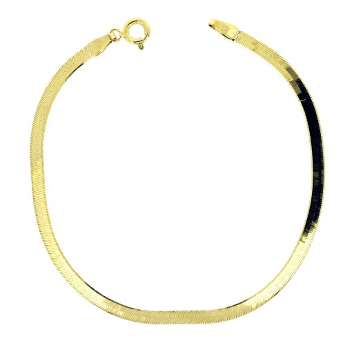 9ct Yellow Gold Herringbone Plain 18.5cm Bracelet