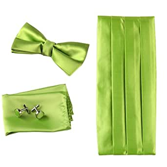 CM1001 Romance Gift Giving Lime Green Silk Cumberbunds Find Goods for Mens Bow Tie Hanky Set with Gift Box By Epoint