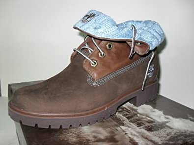 WOMEN'S TIMBERLAND BROWN WITH BLUE FOLD OVER BOOTS (89348), SIZE 7.5 M
