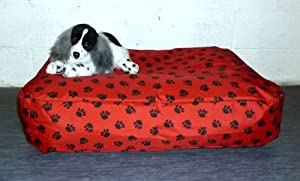 Zippy Waterproof Bean Bag Pet Dog Bed - Large - Red Paw Print Beanbag from Zippy UK