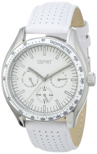 Esprit orbus - Reloj analógico de mujer de cuarzo con correa de piel blanca - sumergible a 30 metros