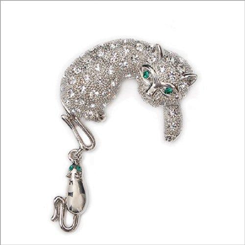 Fashion Trendy Cat Crystal Brooch #011270