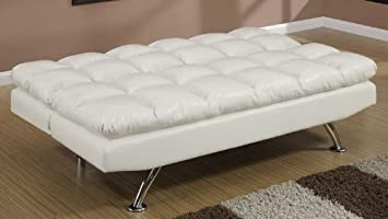 Cream Faux Leather Adjustable Sofa Bed by Poundex