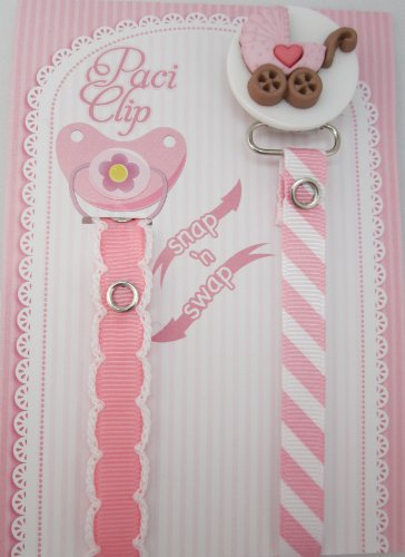 Pink Stroller Ribbon Pacifier Clip