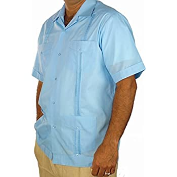 Basic Traditional Cotton Blend guayabera color light blue.