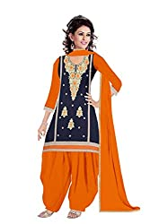 Queen Creation Women's Beautiful Embroidered Navy Blue & Orange Dress Material