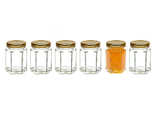 Healthcom 6 Pcs 2.8 Oz Hexagonal Canning Jars Wide Mouth Quart Jam Jars Hexagon Glass Jars Mason Jars,Gold Lid(85ml)