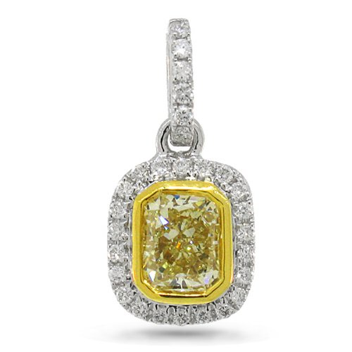 0.65ct 14k Two-tone Gold Radiant Cut Natural Fancy Yellow Diamond Pendant Necklace image