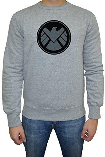 Marvel Shield Logo Uomo Felpa Maglione Pullover Grigio Tutti Dimensioni | Men's Sweatshirt Jumper Pullover Grey