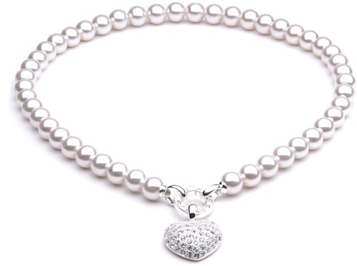 CB-Creation Perlenkette weiß ca 45 cm mit Herz versilbert Strass