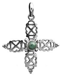 Exotic India Malachite Cross Pendant - Sterling Silver