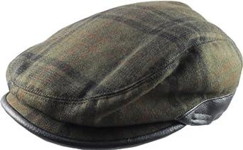 'Train Driver' Style Flat Cap - Green Plaid S/M (57cm)