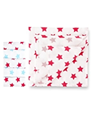 5 Pack Pure Cotton Star Print Muslin Cloths