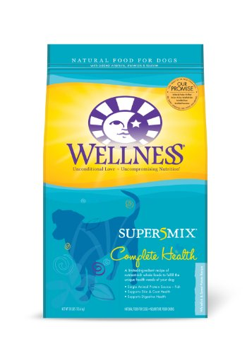 Wellness Super5Mix Dry Dog Food, Complete Health Whitefish and Sweet Potato Recipe, 30-Pound