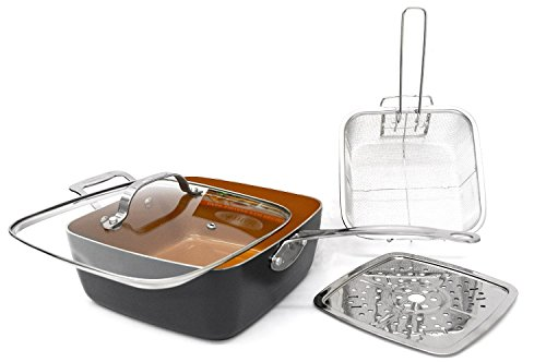 Gotham Steel Titanium Ceramic 9.5 Deep square frying & Cooking Pan With Lid, Frying Basket,Steamer Tray (Frying Pan Deep compare prices)