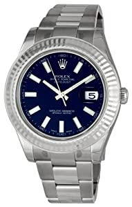 Rolex Datejust II Blue Index Dial Fluted 18k White Gold Bezel Oyster Bracelet Mens Watch 116334BLSO