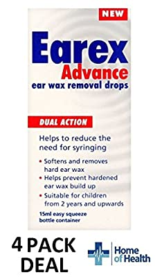 Earex Advance Ear Wax Removal Drops- Dual Action 15ml **4 PACK DEAL**