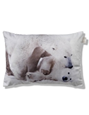 Velvet Polar Bears Print Cushion