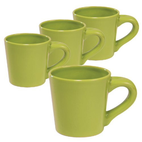 Chantal 12-Ounce Short And Stout Mugs, Glossy Lime Green, Set Of 4