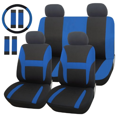 Adeco [CV0155] Whole Set of 13-Piece Car Seat Covers - with Steering Wheel Cover and Safety Belt Covers, Universal Fit, Black and Blue Color, Interior Decor