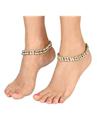 YoFashion Traditional Ethnic Antique Gold Plated American Diamond Kundan Anklet Pair For Women