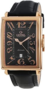 Gevril Avenue of Americas Men's Automatic Watch with Black Dial Analogue Display and Black Leather Strap 5101A