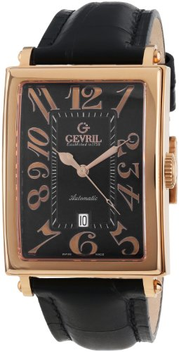 Gevril Men's 5101A Avenue of Americas Automatic-Date Rectangular Rose Gold Watch