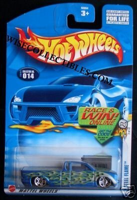Mattel Hot Wheels 2003 First Editions 1:64 Scale Blue Steel Flame Die Cast Truck #014 - 1