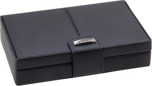 Dulwich Black Leather with Purple Lining 15 Piece Cufflink Box