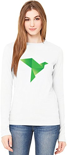 Green Origami Bird T-Shirt da Donna a Maniche Lunghe Long-Sleeve T-shirt For Women| 100% Premium Cotton Ultimate Comfort Large