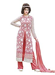 Namrah Collection Women's Georgette Embroidered (4444, Pink)
