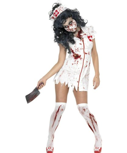 Smiffy'S Women'S Zombie Nurse Costume With Dress Mask And Headpiece, Red/White, Small