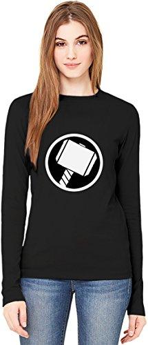 Thor's Hammer T-Shirt da Donna a Maniche Lunghe Long-Sleeve T-shirt For Women| 100% Premium Cotton| DTG Printing| XX-Large