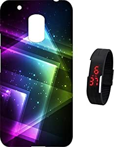 BKDT Marketing Printed back cover for Moto G4 Play with Digital Watch