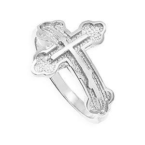 solid 10k white gold eastern orthodox cross ring