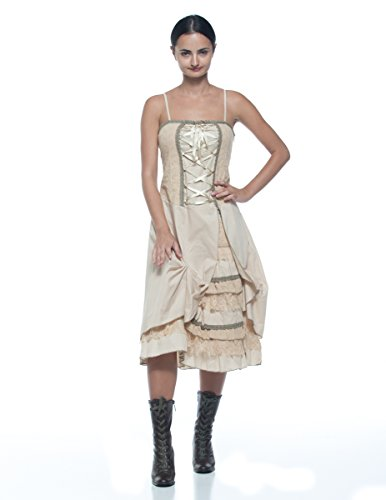 Women's Plus Antique Style Lace-Up Corset Tiered Ruffle Bustle Frontier Dress