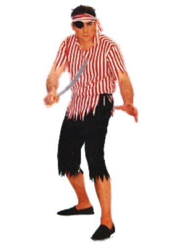 Collegeville Pirate Man Costume Adult One Size Red and White