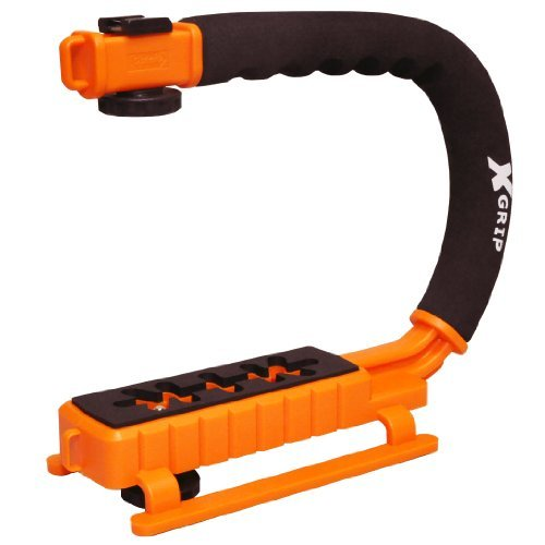 Opteka X-GRIP Professional Camera / Camcorder Action Stabilizing Handle with Accessory Shoe for Flash, Mic, or Video Light (Orange)