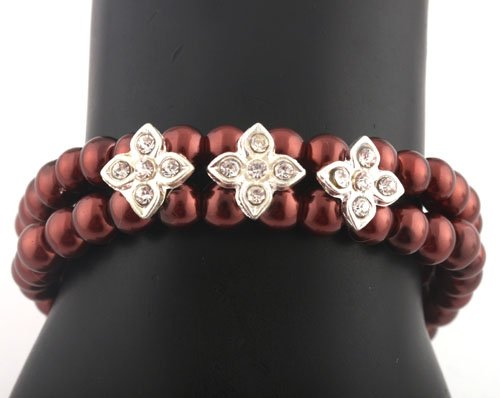 Ladies Red Pearl Beads with Iced Out Flowers Stretch Bracelet